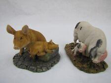 2 Royal Doulton Pig Hog Figurine Ornaments with Piglets Vintage Signed