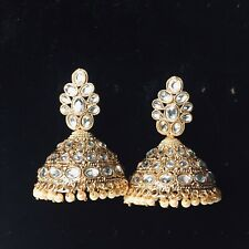 Pakistani Golden Jhumka Earings Jewellery, Indian Jhumki Earrings Jewelry