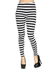 Women's Horizontal Black White Stripe Stretchy Leggings with Two Back Pockets