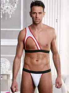 2 PC SEXY MEN'S  Gift Set Top & Thone Brief LINGERIE UNDERWEAR AS PICTURE