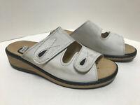 Lueger Bequem Damen Klett Pantolette mit herausnehmbarem Fußbett Beige 62841