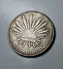 MEXICO 1891A.M.10D.(GUANAJUATO)8 R.M. 20G. REARE LIBERTY SILVER COIN.