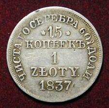 Pologne Russie argent 15 kopek/1 Zloty 1837 Varsovie Comme neuf-Nice!