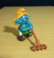 Smurfs Haymaker Farmer Smurf 20138 Rake Straw Hat Vintage Figure Farm Figurine