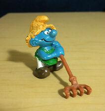 Smurfs Farmer Smurf Haymaker Rake Straw Hat Vintage Figure Farm Toy Peyo 20138