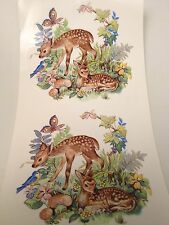 Ceramic decals Deer fawns in forest scene lot of 24