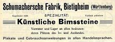 Fábrica schumachersche Bietigheim bimssteine publicitarias histórica de 1908
