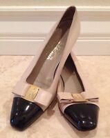 SALVATORE FERRAGAMO Black Patent  Cap Toe & Vara Bow Tan Leather Heels Sz 8 AA