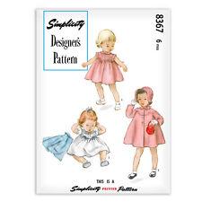 Baby 6 mos Sewing Pattern Simplicity 8367 Dress Coat Bonnet Jacket Designer's