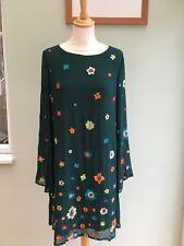 DRESS BY DERHY SIZE 10 BOTTLE GREEN EMBROIDERD FLOWERS CHIFFON SLEEVES BNWT