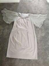 Jacques Vert Lined Beaded Silk Panel Midi Dress Size 18.