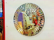 Art Deco Round Wall Mirror Sunburst Bevelled Silver Glass Strip Frame 60cm