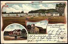 Gruß vom Übungsplatz bei DARMSTADT Wellblechhausen - TOP 3-Bild Farb-Litho 1902