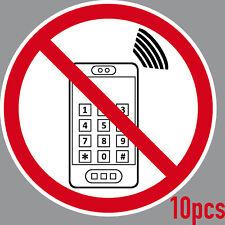 10 ADESIVO 15cm DIVIETO Cellulare Telefono VIETATO
