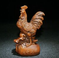 Collect feng shui boxwood carved cock chicken Money bag wealth statue figurines