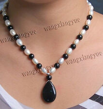 """Genuine 7-8mm Natural Rice White Pearl & Black Agate Gems Pendant Necklace 18"""""""