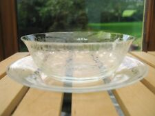 Set of 4 fine Etched Glass Dessert Bowls & plates - late 19th early 20th Century