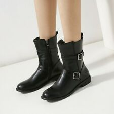 Womens Punk Low Heels Mid-calf Boots Round Toe Buckle Outdoor Casual Boots Shoes
