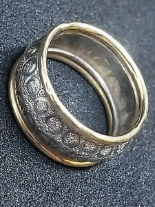 Two tone cigar band ring 14K gold & sterling silver size 5