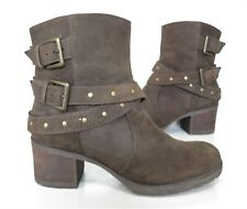 Ladies CLARKS Brown Leather Mid-heel ankle boots Size 7 Exc Cond