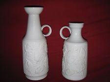 "2 SCHUMANN ARZBERG ceramic Germany vintage VASE white bisque leaf decor 8"" & 10"""