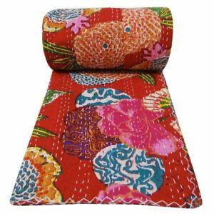 Indian Floral Print Twin Cotton Kantha Handmade Throw Bohemain Kantha Blanket