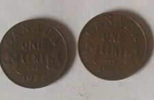 Lot of 2 Canada 1 Cent 1928 1932