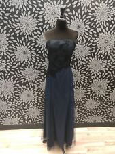 Navy Floral Size 8 Dessy Formal Bridesmaid Mother Gown