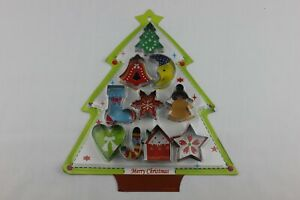 10 piece Xmas Christmas Cutters Pastry Biscuit Cookie Stencil Mould Baking #1