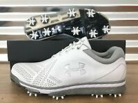 Under Armour Tempo Tour Golf Shoes White Gray Leather Spieth SZ ( 1270205-101 )