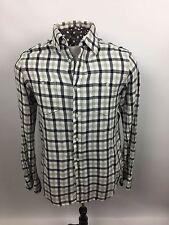 Ben Sherman Mens Dress Shirt~Medium Soft Cotton Black/Gray Plaid~2 Pocket