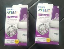 Lot of 2 PHILIPS AVENT Natural Baby Feeding Milk Bottle BPA Free PP 4oz Genuine