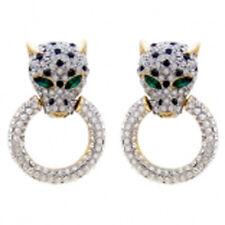 Butler Y Wilson Cristal Claro Medio Leopardo Cabeza Anillo Oro Tono Pendientes Nueva