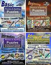 Phonics/Spelling Puzzles. 4 levels. Reading, Writing, and Vocabulary building.