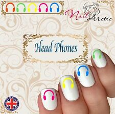 40 x Nail Art Water Transfers Stickers Wraps Street Art Headphones Dance Hip Hop