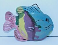 Vintage Ceramic Pottery Tropical Fish Wall Pocket Vase Blue Rose Yellow Signed