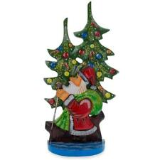 """12.25"""" Santa and Christmas Tree Hand Carved Wooden Figurine"""
