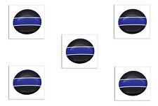 5 Premium Blue Line Automotive Grade Glossy Domed Decal Sticker Emblems 3/4 inch