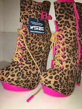 Shiekh Platform High Heel Shoes 6.5 Stripper Boots Leopard Neon Pink Lace Up