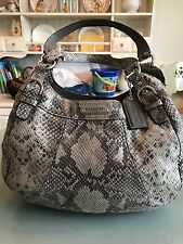 Coach Embossed Exotic Hobo Bag Silver Gray Madison Snakeskin Purse F19678