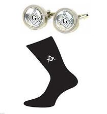 Gemelli massonico ROUND incorniciato & Calzini Da Uomo Massonico G Gift Set X6MG-X2N098