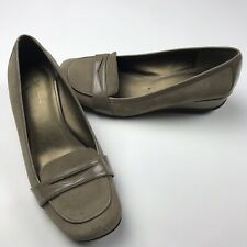 """Kenneth Cole """"Very Penny"""" Brown Slip On Low Wedge Loafer Shoes Womens Size 8 M"""