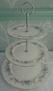 """3 tier XL china cake stand. From """"Romance"""" plates by Paragon Hotel, tea room etc"""