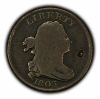1803 1/2c Draped Bust Half Cent - VG Details - SKU-Y3274