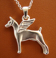 Small Sterling Silver Doberman Pincher Angel Pendant With Cropped Ears