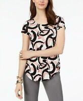 Alfani Top Scoop Neck Short Sleeves Abstract Print Pink Black Sz XL NEW NWT 386