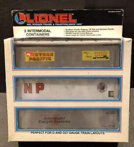 (3)) O SCALE LIONEL INTERMODAL CONTAINERS #6-12907 WESTERN PACIFIC,NP,CP, RAIL