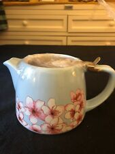 TeaPot, Ceramic and Stainless Steel, NWT, 20oz, Blue w/Pink Floral