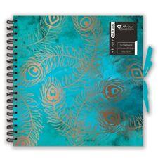 Peacock Feather Design Scrapbook Photo Album Spiral Bound Square 40 Sheet HCNA