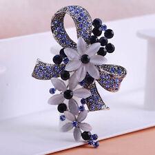 STUNNING VINTAGE INSPIRED ANTIQUE SILVER DARK SAPPHIRE BLUE FLOWER BROOCH